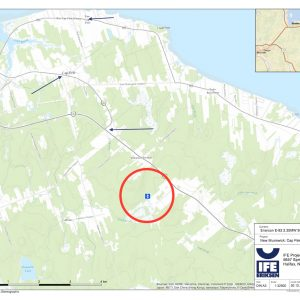 A map and photos and showing what the turbine may look like from four locations in the area.