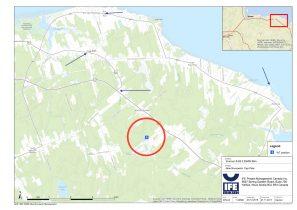 Carte et clichés montrant ce à quoi pourrait ressembler l'éolienne vue depuis quatre emplacements dans le secteur